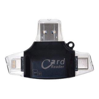 【送料無料】SDカードリーダー カードリーダー 4 in 1 MicroSDカード Type-C/USB3.0 MicroUSB Lightning TFカード スマホ PC GLD6076MJ42