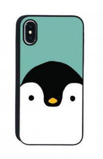 【iPhone XS/XR】ブラックケース スカンジナビアアニマル ペンギン
