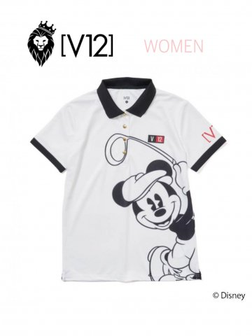<img class='new_mark_img1' src='https://img.shop-pro.jp/img/new/icons13.gif' style='border:none;display:inline;margin:0px;padding:0px;width:auto;' />【V12】MICKEY/SWING POLO(WOMEN)【WHITE】