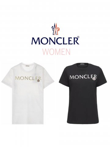 <img class='new_mark_img1' src='https://img.shop-pro.jp/img/new/icons13.gif' style='border:none;display:inline;margin:0px;padding:0px;width:auto;' />【MONCLER】メタリックロゴTシャツ(WOMEN)【全2色】