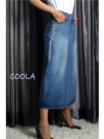 【COOLA】ダブルウエストペイントデニムスカート