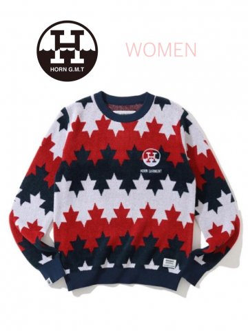 <img class='new_mark_img1' src='https://img.shop-pro.jp/img/new/icons13.gif' style='border:none;display:inline;margin:0px;padding:0px;width:auto;' />【HORN GARMENT】Starry Maple Border Sweater(WOMEN)【RED/NAVY】