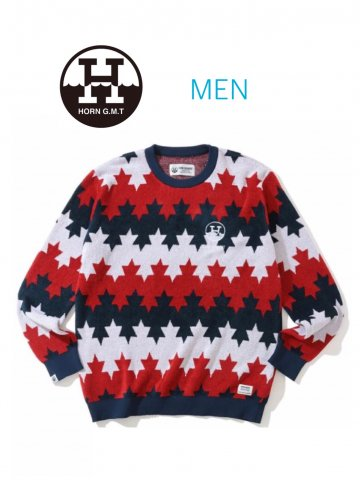 <img class='new_mark_img1' src='https://img.shop-pro.jp/img/new/icons13.gif' style='border:none;display:inline;margin:0px;padding:0px;width:auto;' />【HORN GARMENT】Starry Maple Border Sweater(MEN)【RED/NAVY】