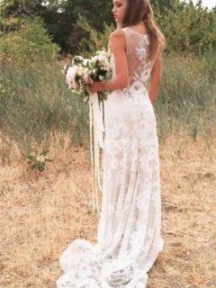 【Used 45%OFF】 Claire Pettibone Gardenia(クレアペティボーン レーススレンダードレス/ライトベージュ) 9号〜11号