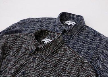 ツイード風チェック柄 ニットシャツ 【MEN】