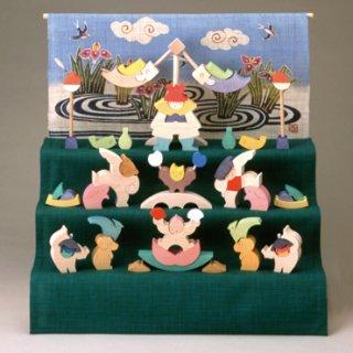 小黒三郎 組み木の五月人形 楕円武者三段飾り (菖蒲) KK120