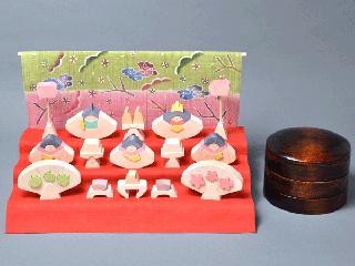 小黒三郎の組み木のひな人形 円びな 三段飾り (桜) KH371