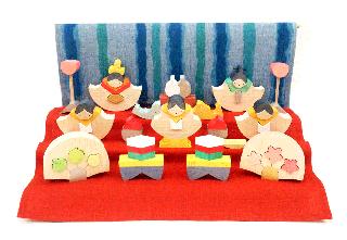 小黒三郎の組み木のひな人形 銀杏雛三段飾り (黄) KH187