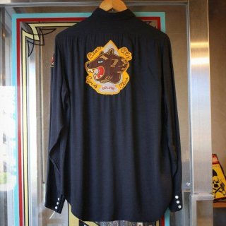 vintage 1950S~<BR>Rayon western style club shirt<BR>MC patch Black color