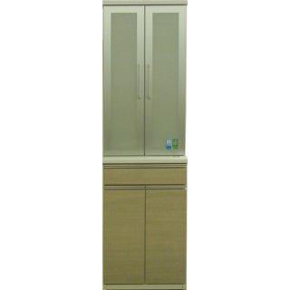【現品特価】60食器棚 ラテオーク色(上下重ね)国産家具【開梱・設置無料】