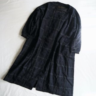【WINTER SALE 30%OFF】AU GARCONS オーギャルソン レディース ROUND NECK CHECK COAT 丸首 コート ANNA / NAVY PLAID<img class='new_mark_img2' src='https://img.shop-pro.jp/img/new/icons22.gif' style='border:none;display:inline;margin:0px;padding:0px;width:auto;' />