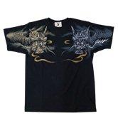 和柄半袖Tシャツ「阿吽の双龍」