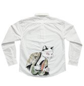 和柄長袖シャツ「歌舞伎猫」