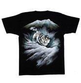 和柄半袖Tシャツ「雪山狼」