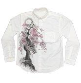 和柄長袖シャツ「龍木櫻」