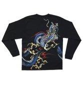 和柄長袖Tシャツ「青龍神」