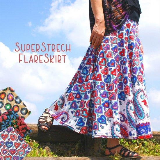 Super Strech FlareSkirt *Ethnic 3pattern