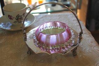 アンティーク バター ジャムディッシュ スレッドガラス