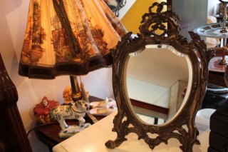 アールヌヴォ スタンドミラー 真鍮製 猫脚
