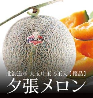 夕張メロン 優品 大玉 中玉サイズ 5玉 約8.0kg