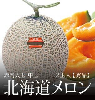 北海道メロン 秀品 赤肉大玉 中玉サイズ 2玉 約3.2kg