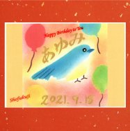 お誕生日 見開きご朱印 「青い鳥」お名前お書き入れ