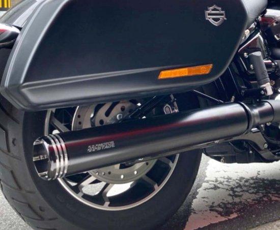 ハーレー ソフテイルFLSB スポーツグライド用スリップオンマフラー ファットマンブラック