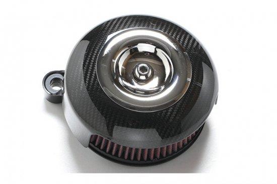 ソフテイルALLモデル用エアクリーナーキット ドライカーボンエアークリーナー メッキミニカバー S&Sステルスステージ1付属