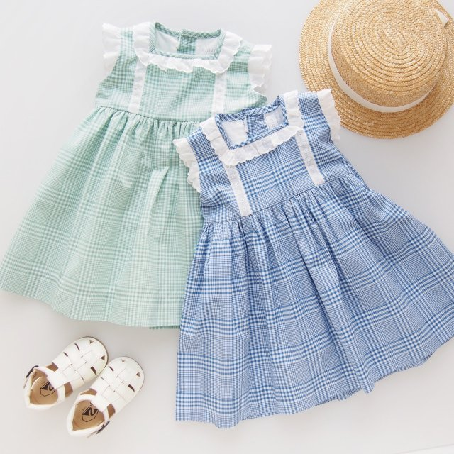 <img class='new_mark_img1' src='https://img.shop-pro.jp/img/new/icons14.gif' style='border:none;display:inline;margin:0px;padding:0px;width:auto;' />Amaia Kids - Ariana dress (Blue check/ Green check)