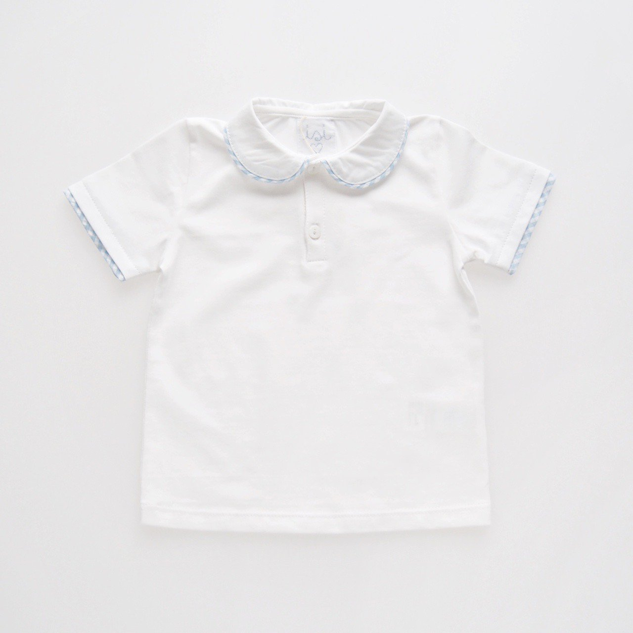 <img class='new_mark_img1' src='https://img.shop-pro.jp/img/new/icons14.gif' style='border:none;display:inline;margin:0px;padding:0px;width:auto;' />Malvi&Co. - Trim collar Jersey polo (Pale blue/ Navy)