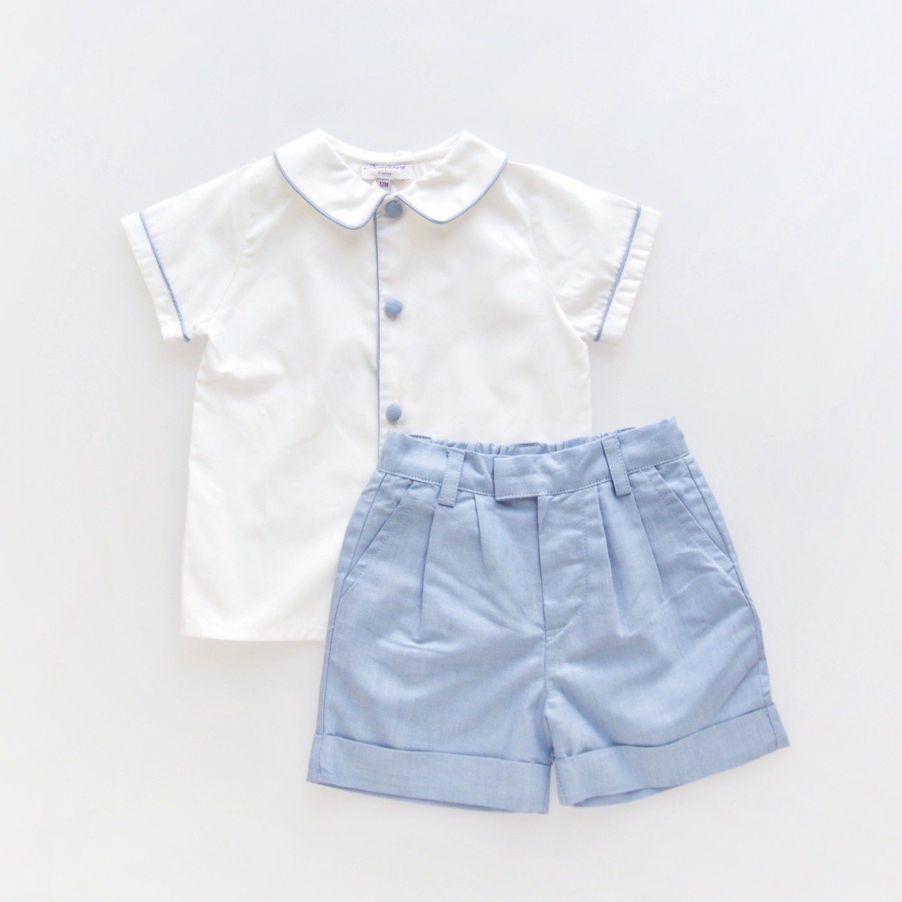 <img class='new_mark_img1' src='https://img.shop-pro.jp/img/new/icons14.gif' style='border:none;display:inline;margin:0px;padding:0px;width:auto;' />Kidiwi - ARMAND boy's shirt and shorts set (Blue dungaree)