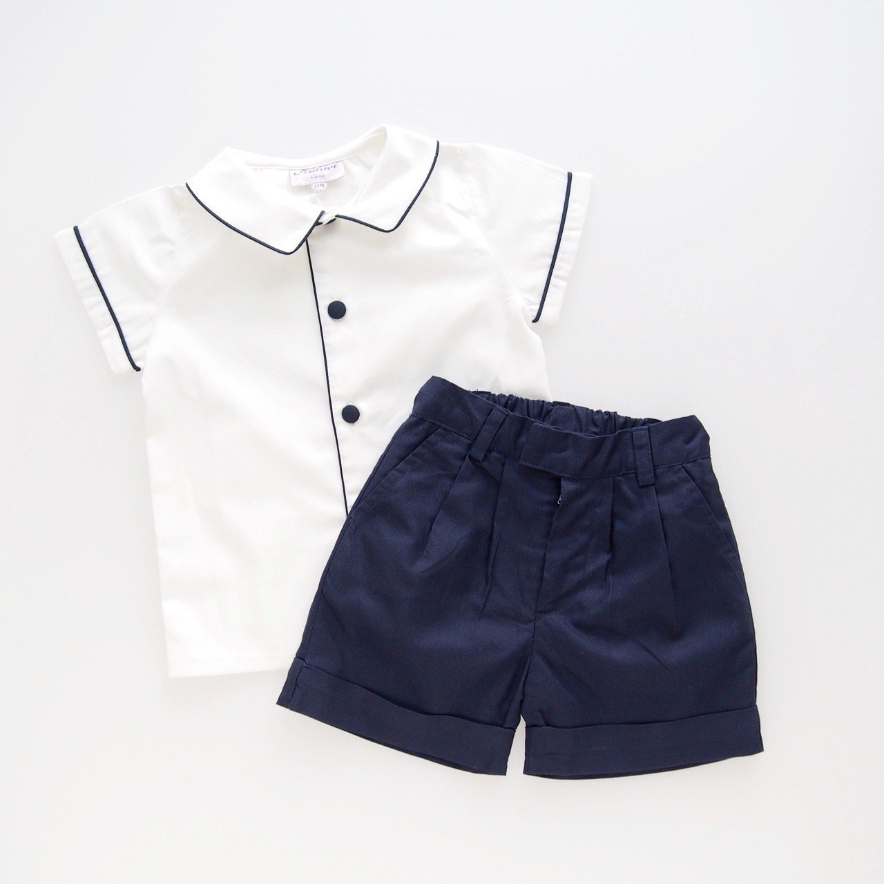 <img class='new_mark_img1' src='https://img.shop-pro.jp/img/new/icons14.gif' style='border:none;display:inline;margin:0px;padding:0px;width:auto;' />Kidiwi - LUCIEN boy's shirt and shorts set (Navy)