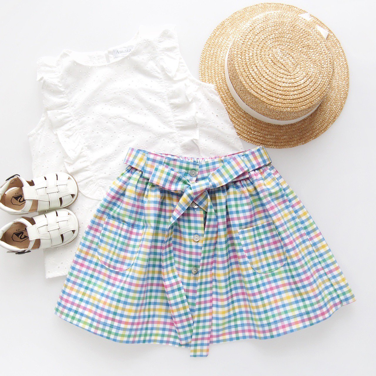 <img class='new_mark_img1' src='https://img.shop-pro.jp/img/new/icons14.gif' style='border:none;display:inline;margin:0px;padding:0px;width:auto;' />Pi & Pa - Multi gingham skirt