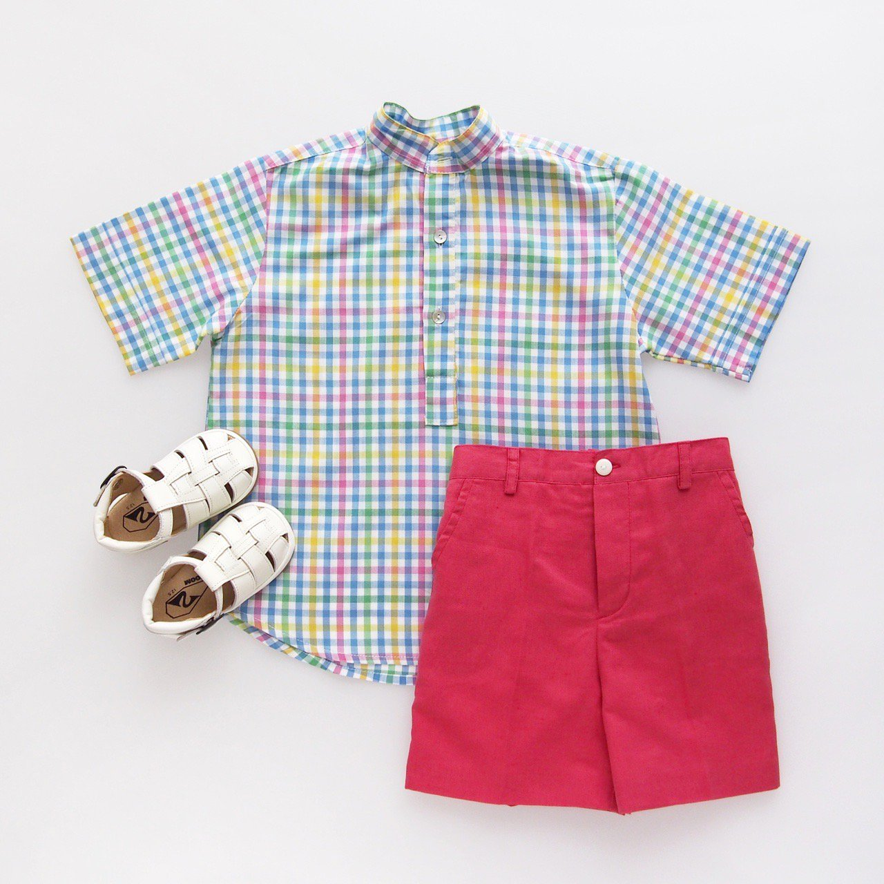 <img class='new_mark_img1' src='https://img.shop-pro.jp/img/new/icons14.gif' style='border:none;display:inline;margin:0px;padding:0px;width:auto;' />Pi & Pa - Multi gingham boy's shirt