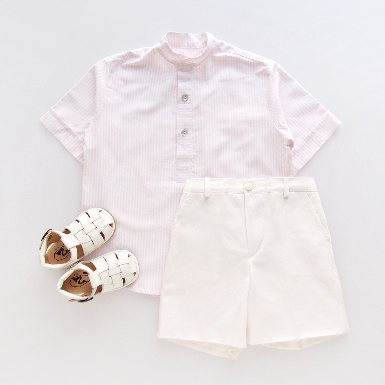 <img class='new_mark_img1' src='https://img.shop-pro.jp/img/new/icons14.gif' style='border:none;display:inline;margin:0px;padding:0px;width:auto;' />Pi & Pa - Pink stripes boy's shirt