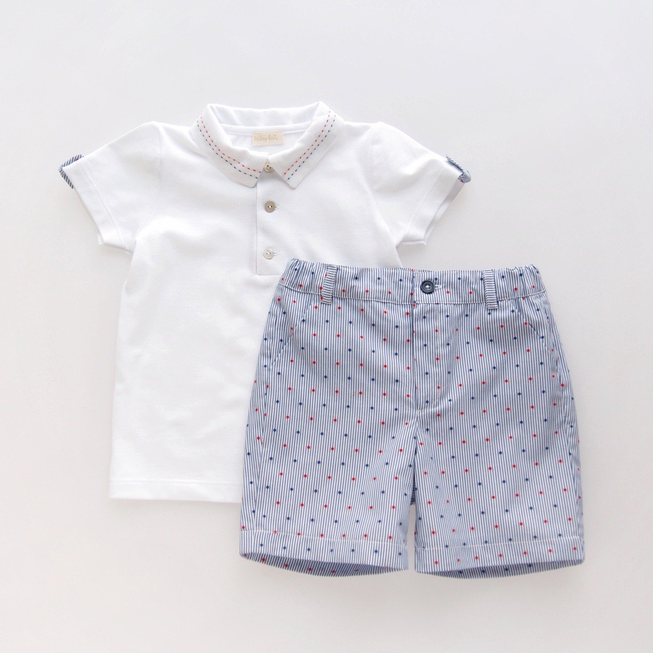 <img class='new_mark_img1' src='https://img.shop-pro.jp/img/new/icons1.gif' style='border:none;display:inline;margin:0px;padding:0px;width:auto;' />baby lai/ Laivicar - Polo and dots stripes shorts boy's set