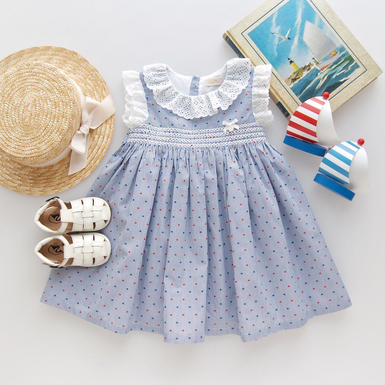 <img class='new_mark_img1' src='https://img.shop-pro.jp/img/new/icons1.gif' style='border:none;display:inline;margin:0px;padding:0px;width:auto;' />baby lai/ Laivicar - Dots stripes dress