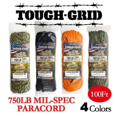 【R】TOUGH-GRID/タフグリッド 750ポンドミルスペックパラコード/100フィート
