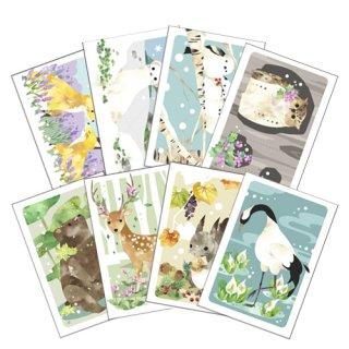 北の動物たちMofumofu ポストカード