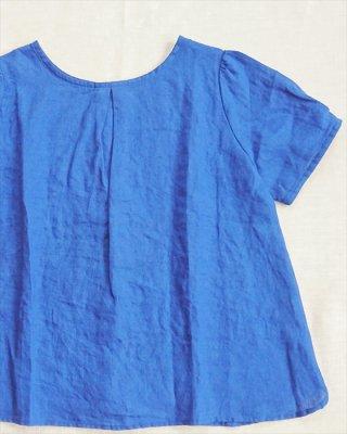 【blue willow】リネン平織り パフスリーブブラウス
