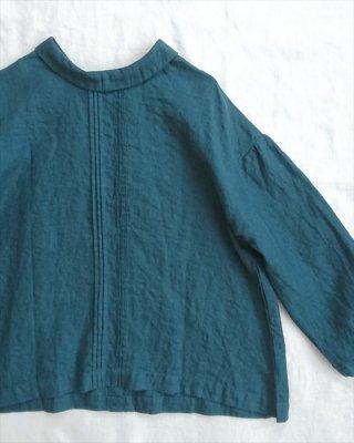 【blue willow】リネン平織り 衿付きピンタックブラウス