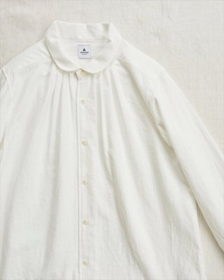 【ashuhari】ラウンドカラー タックシャツ