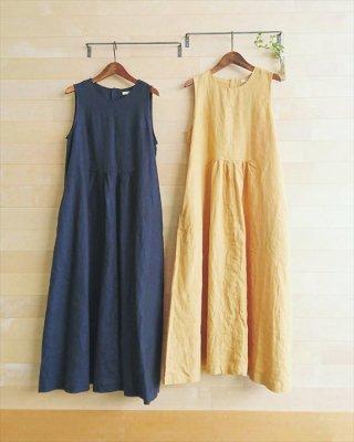 【blue willow】リネン平織り ノースリーブロングワンピース