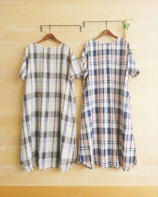 【blue willow】リネン平織り チェック裾ラウンドワンピース