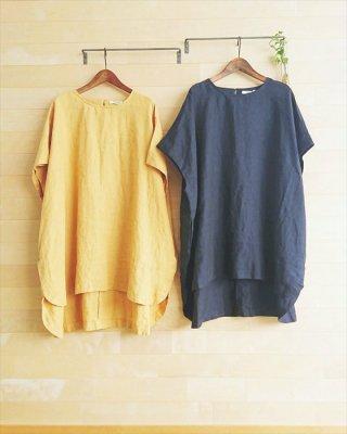 【blue willow】リネン平織り ドルマンチュニック