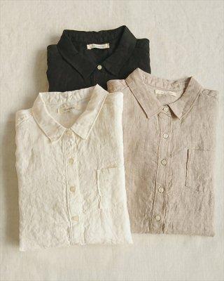 【blue willow】リネン平織り レギュラーシャツ