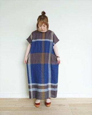 【blue willow】リネン チェックワンピース