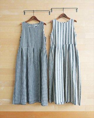 【blue willow】リネン平織り ノースリーブワンピース