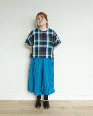 【blue willow】リネン平織りマドラスチェック ロールアップブラウス