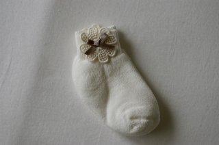 organic cotton socks★gray ribbon